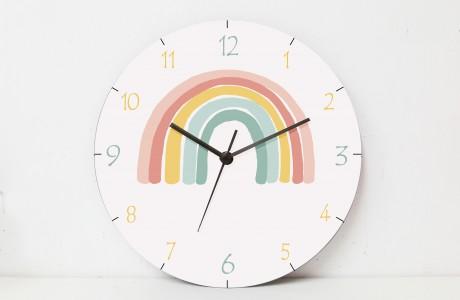 Kids Wall Clock/Round wooden Wall Clock/ kids room decor/Rainbow designwall art
