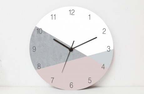 A stylish Nordic Wall Clock for sophisticated interiors/Minimalist Wooden wall clock Concrete textu