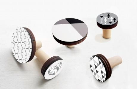 סט של 5 מתלי קיר בעיצוב מודרני/מתלי קיר לעיצוב הבית/עיצוב שחור לבן