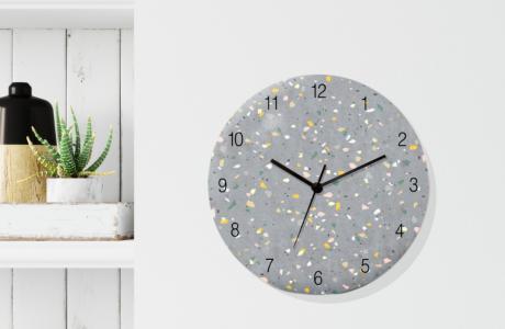 שעון קיר מעוצב/שעון קיר שקט/שעון קיר מינימליסטי/ שעון בהדפס טראצו אפור