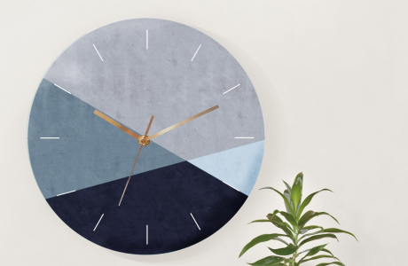 שעון קיר בעיצוב מודרני/שעון עץ עגול גדול/ שעון קיר גאומטרי לסלון/שעון קיר שקט/ עיצוב מינימליסטי