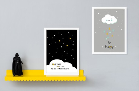 סט 2 הדפסים  לחדר ילדים/תמנות לעיצוב חדר הילדים איורים בשחור ולבן