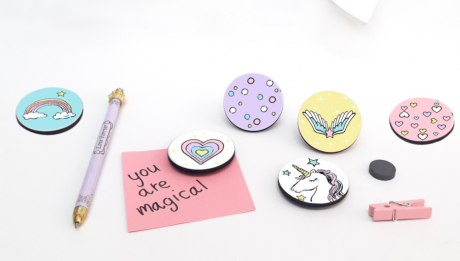 Wooden Fridge Magnet/Set of 6 Decorative Magnets/Button Magnets for your office
