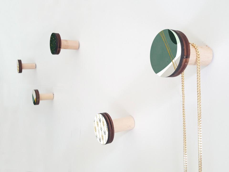 Modern Wall Hooks set of 5/ Round Wall hooks/coat hooks/scandinavian decor wall art