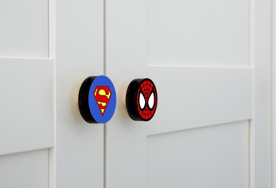 סט של ידיות גיבורי על/ ידיות לחדר של בן/ידיות מעוצבות לחדרי ילדים