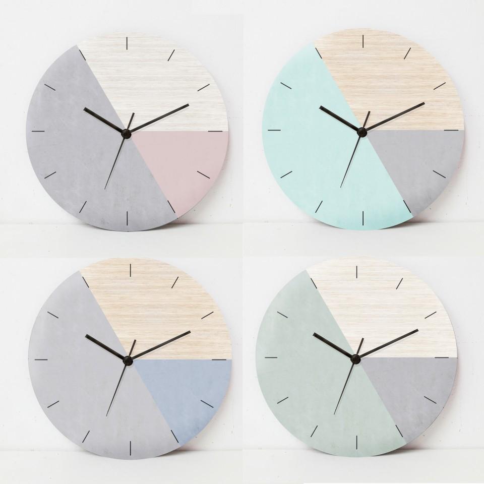 שעון קיר בהדפס עץ ובטון בגווני אפור וטורקיז/שעון קיר לסלון//שעון קיר למשרד/ שעון גאומטרי