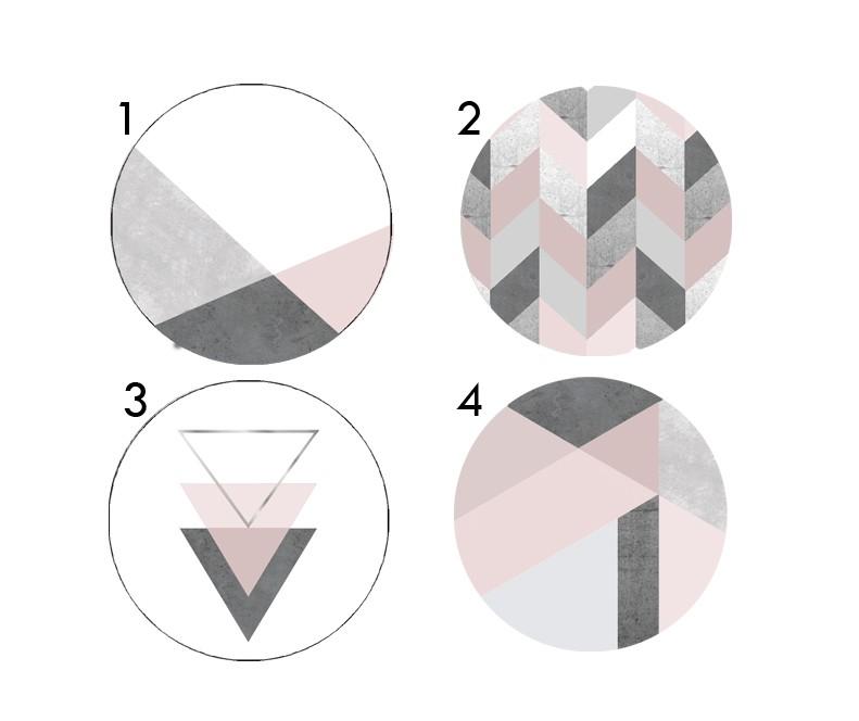 ידיות מעוצבות לארון ושידת מגירות/סט ידיות עגולות עם הדפסים גאומטרים בצבעי אפור ורוד