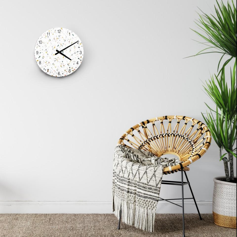 שעון קיר מעוצב/שעון קיר גדול לסלון/ שעון דקורטיבי למטבח/שעון קיר שקט/ שעון בהדפס טראצו