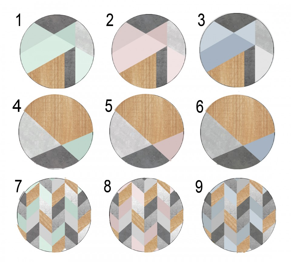 ידיות מעוצבות לארון ושידת מגירות/סט ידיות עגולות עם הדפסים גאומטרים בצבעי פודרה מנטה וכחול
