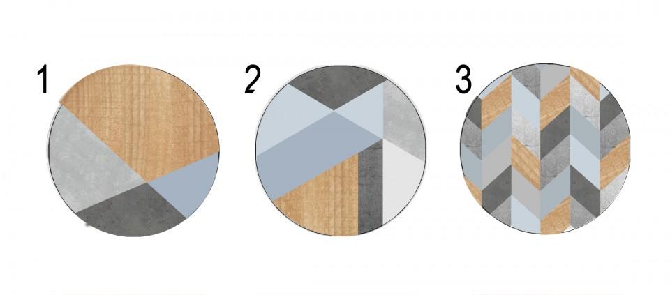 ידיות מעוצבות לארון ושידת מגירות/סט ידיות עגולות עם הדפסים גאומטרים בצבעי אפור כחול