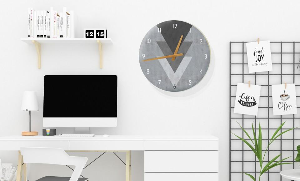 שעון קיר בעיצוב נורדי/שעון עגול גדול לסלון/ שעון דקורטיבי לפינת עבודה/שעון קיר למשרד/ שעון דמוי בטון