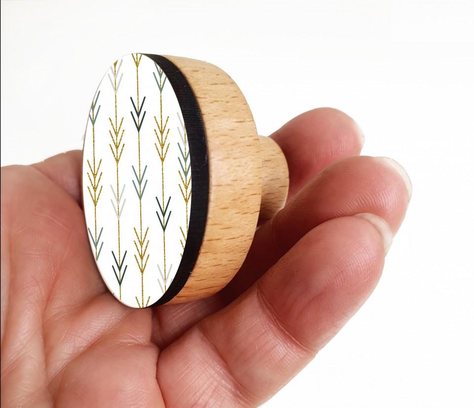 סט של ידיות לארון בגדים/ידיות עץ בעיצוב מנימליסטי/ ידיות למגירות/ידיות עגולות בגווני ירוק