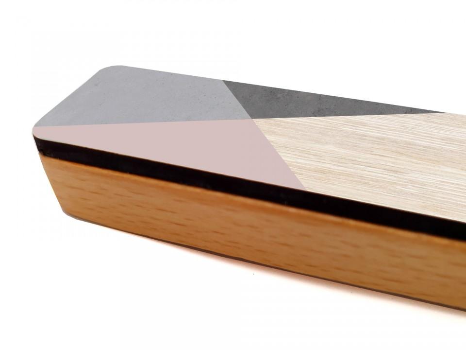 מזוזה מודרנית גאומטרית לדלת הבית/מזוזת עץ מעוצבת/יודאיקה עכשווית/מתנה לחנוכת הבית