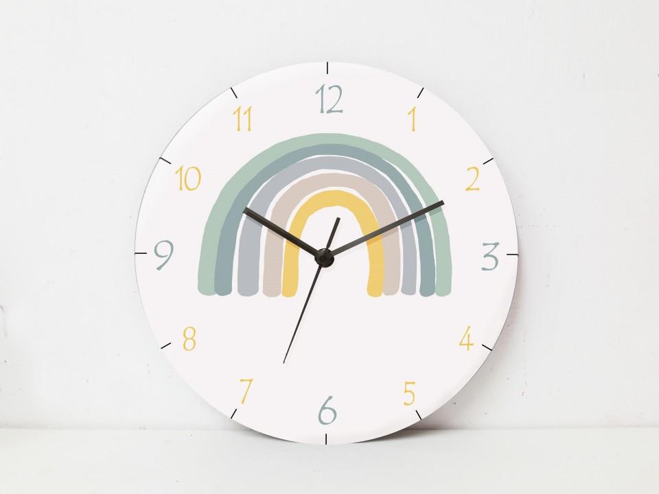 שעון קיר מעוצב לחדר ילדים /עיצוב חדרי ילדים/שעון לחדר ילדים/קשת בענן