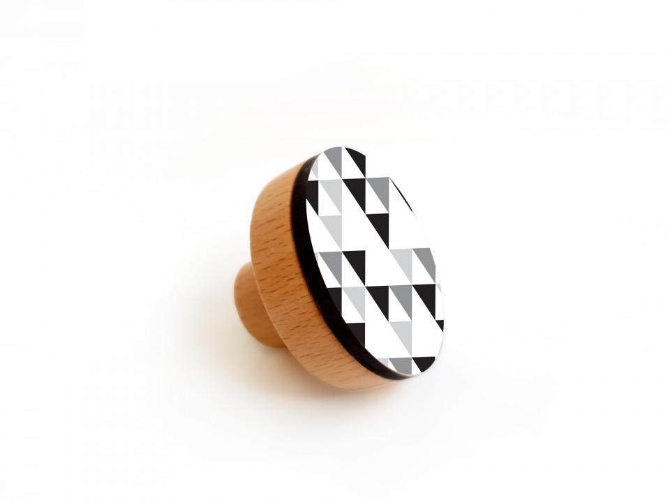 ידיות מעוצבות לארון ושידת מגירות/סט ידיות עגולות עם הדפסים גאומטרים בצבעי שחור ולבן