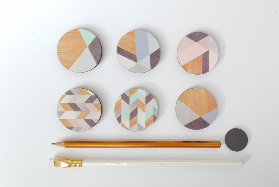 ידיות מעוצבות לארונות ומגירות/ידית דקורטיבית לשידת מגירות/ידית עץ בהדפס גאומטרי אפור