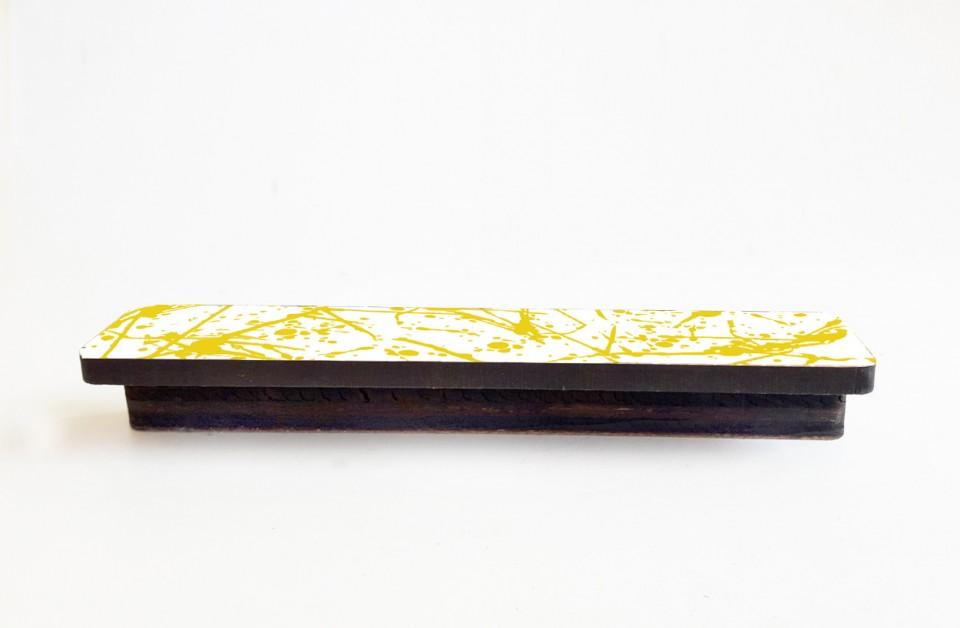 ידיית דקורטיבית לשידת מגירות/ידית עץ מאורכת בהדפס שיש שאפור