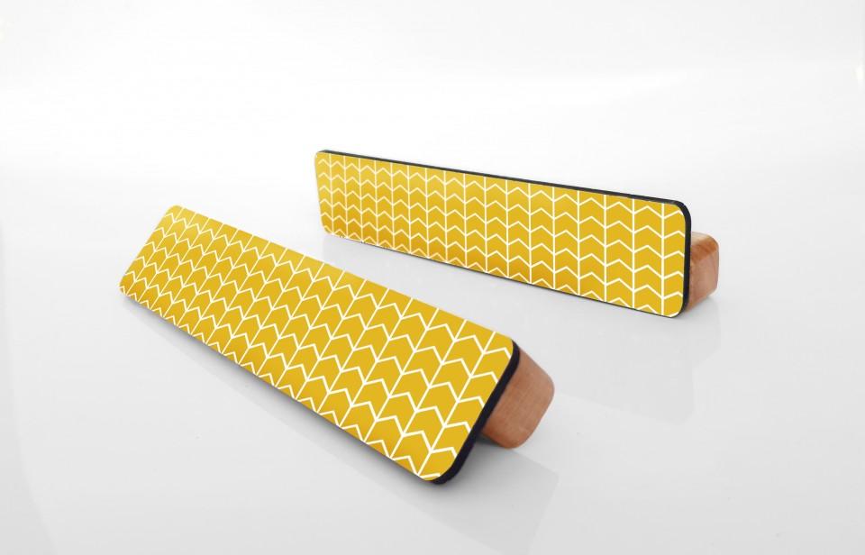 ידיות מעוצבות לארונות ומגירות/ידית ארוכה דקורטיבית דגם צהוב גאומטרי