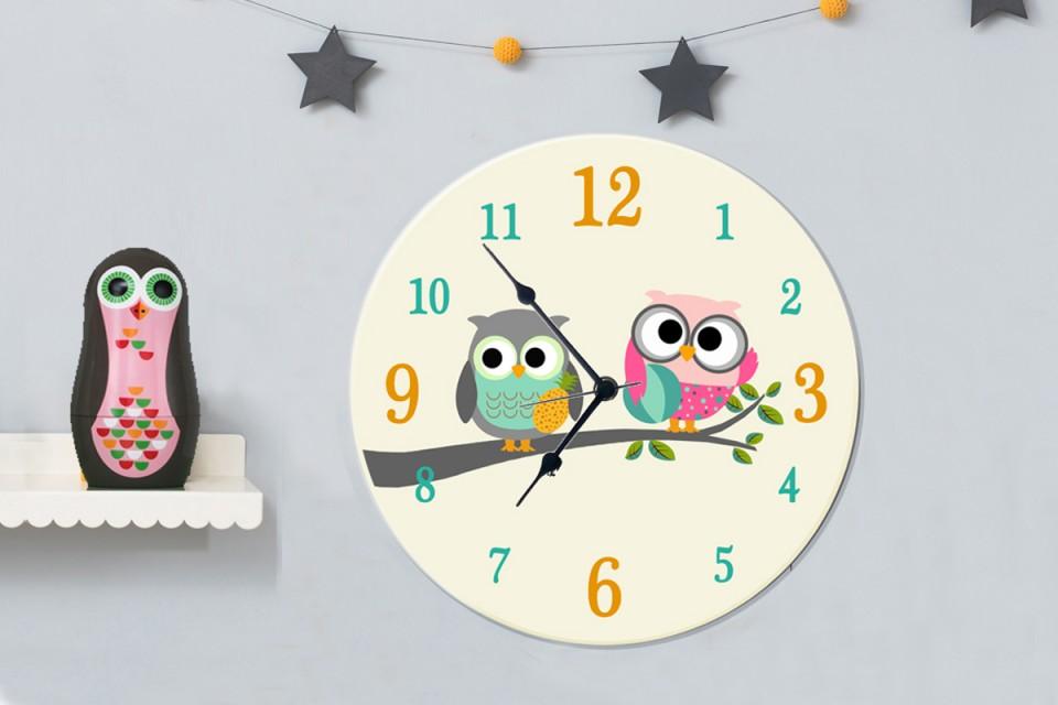 שעון קיר לחדר ילדים/זוג ינשופים/שעון מעוצב לבית/שעון עגול גדול