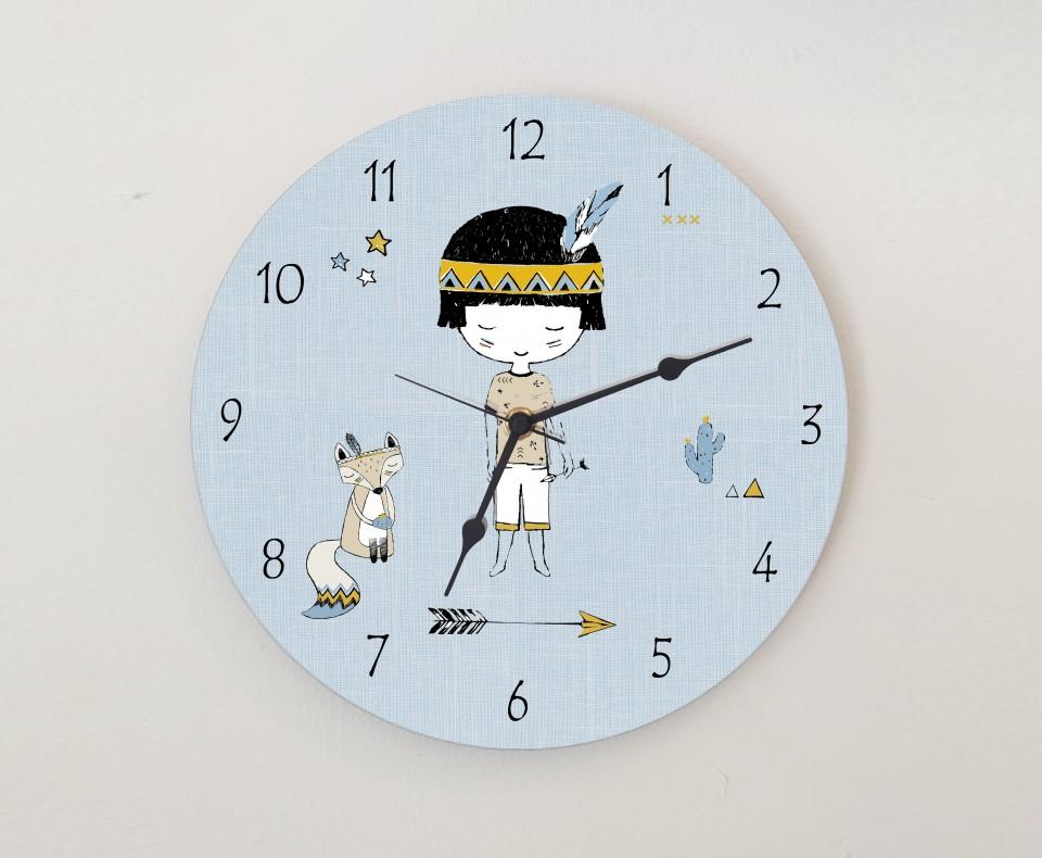 שעון קיר מעוצב לחדר ילדים/שעון עגול מעץ/ עיצוב חדרי ילדים בהשראה אינדיאנית