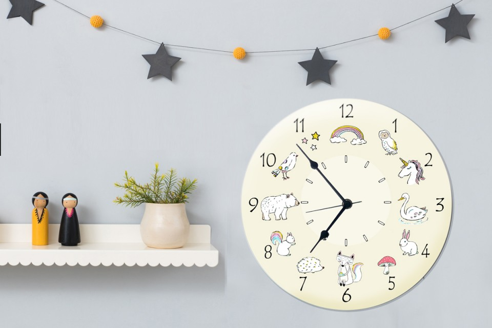 Gala Wall Art Decore Kids Wall Clockround Wooden Wall Clock For