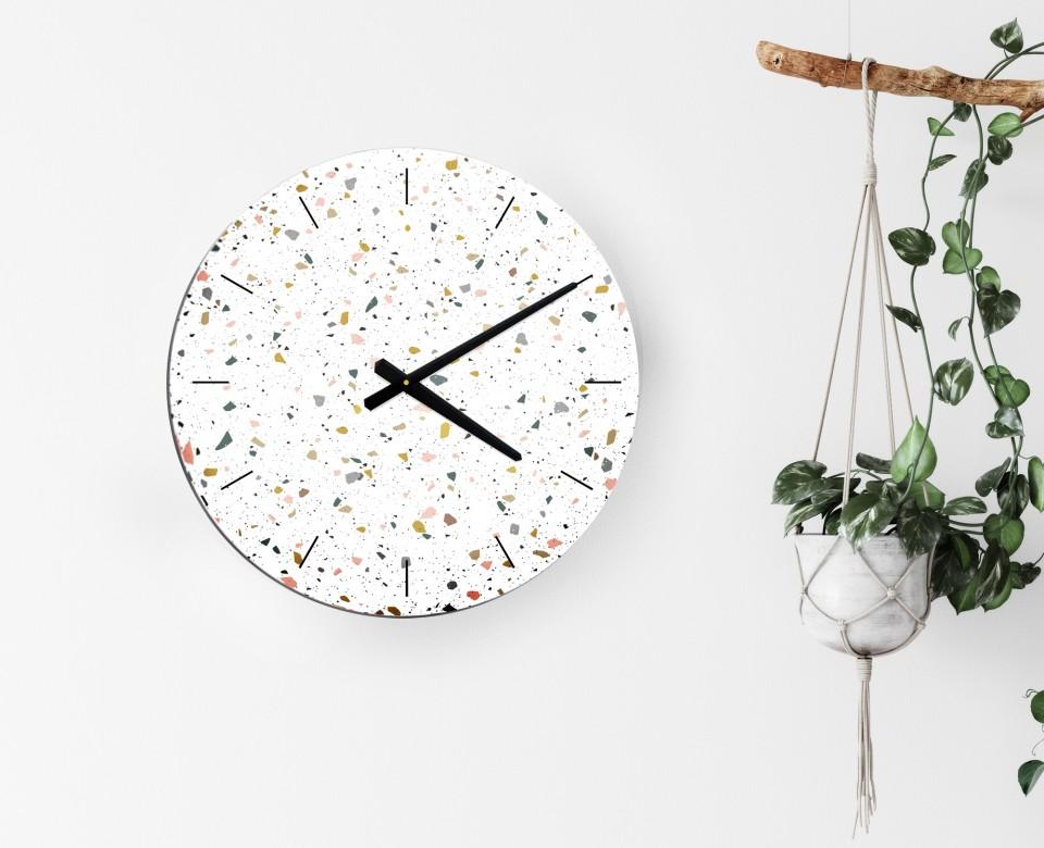 שעון קיר מעוצב/שעון קיר גדול לסלון/ שעון דקורטיבי למטבח/שעון קיר למשרד/ שעון בהדפס טראצו
