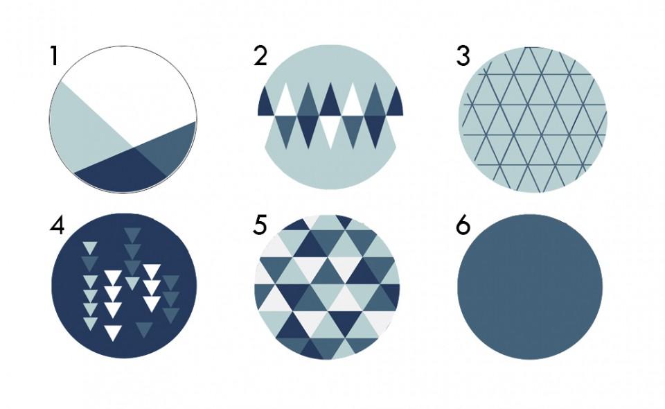 ידיות עץ עגולות/ידיות מעוצבות/ידיות לרהיטים/עיצוב חדרי ילדים ונוער/כחול/גאומטרי