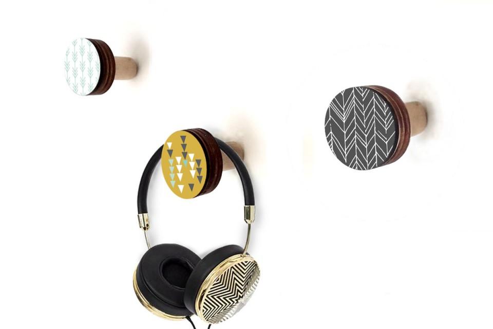 מתלי קיר/מתלים מעץ למעילים/מתלים מעוצבים מודרנים/סט של מתלי כפתור/עיצוב סקנדינבי מנימליסטי
