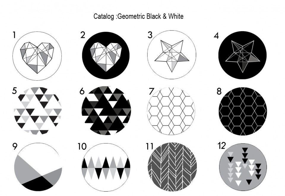 מתלי קיר לבית/סט של 5 מתלים שחור לבן /מתלי קיר בעיצוב גאומטרי מנימליסטי
