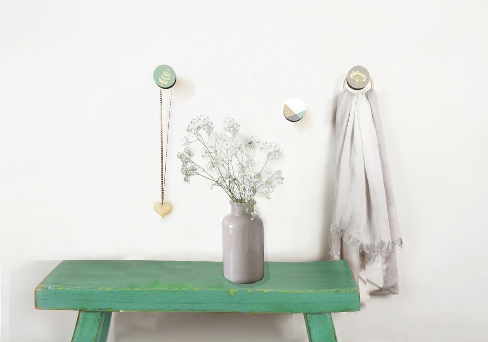 מתלי קיר לבית/סט של 5 מתלים צבעונים /מתלי קיר בעיצוב בוטני בגוונים פסטלים