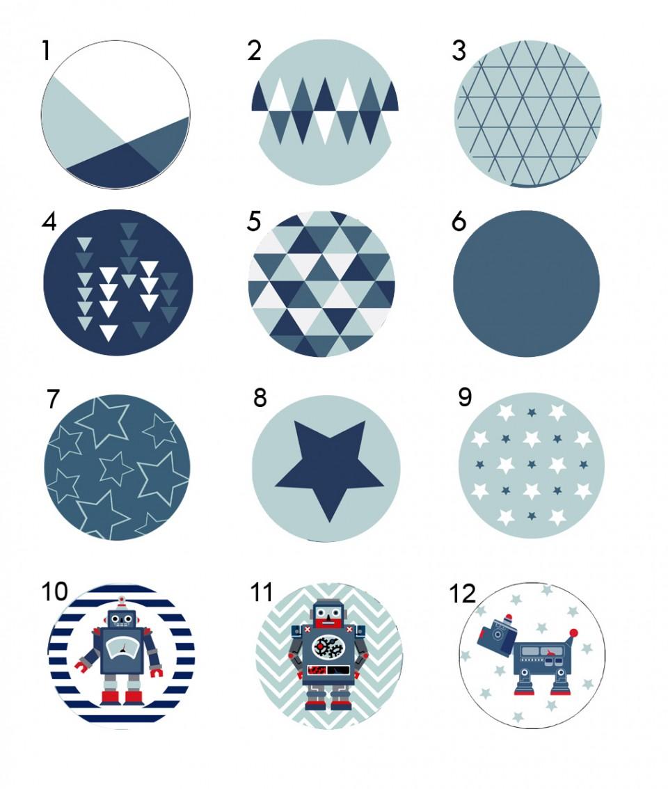 מתלי קיר/מתלים לחדרי ילדים/מתלים מעוצבים/סט שלשלושה מתלים לחדר של בן/רובוט כחול