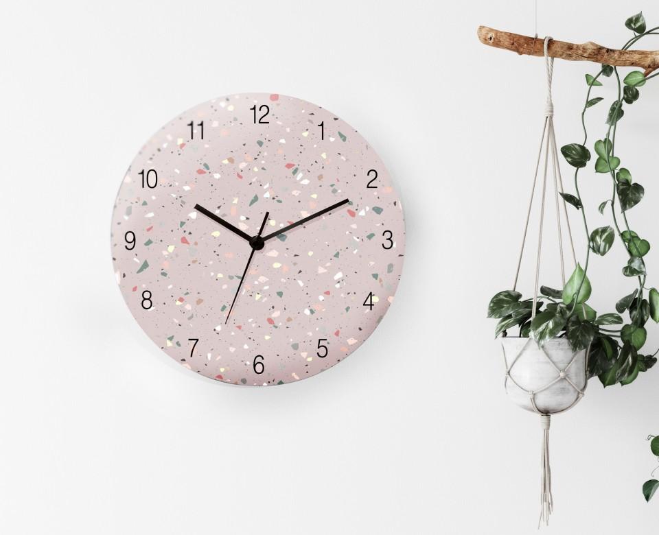 שעון קיר מעוצב/שעון קיר לחדר של נערה/שעון קיר שקט/ שעון בהדפס טראצו פודרה