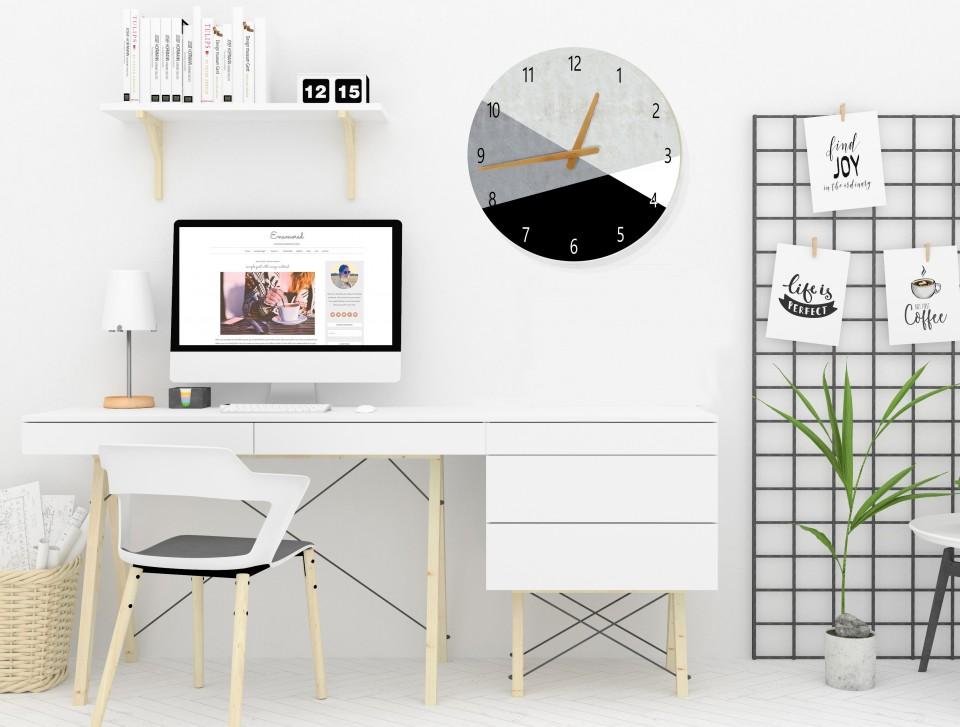שעון קיר בעיצוב נורדי/שעון קיר גדול לסלון/ שעון דקורטיבי למטבח/שעון קיר למשרד/ שחור לבן