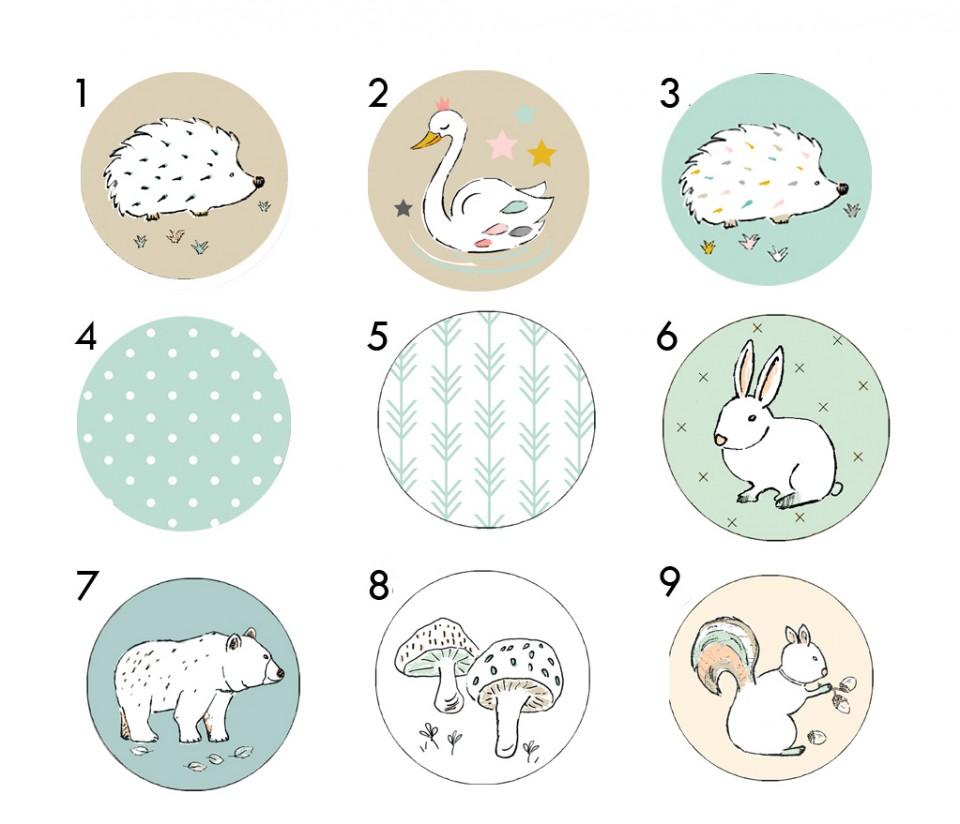 סט ידיות לחדר ילדים/ידיות עץ עגולות לשידת החתלה/ידיות מעוצבות עם איורים של חיות היער