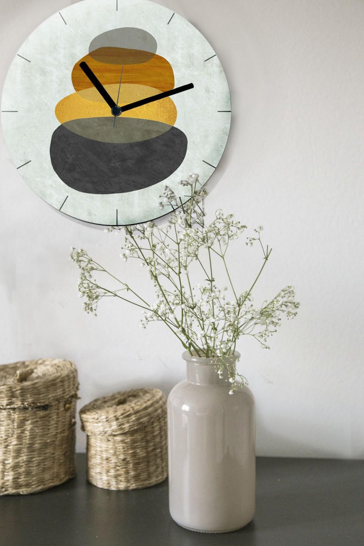 שעון קיר בעיצוב מודרני/שעון קיר גדול לסלון/ שעון דקורטיבי למשרד/ שעון דמוי בטון