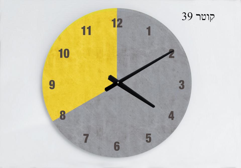 שעון קיר עגול לעיצוב הבית/שעון קיר גדול עיצוב נורדי/ /שעון קיר למשרד/ שעון דמוי בטון/גאומטרי