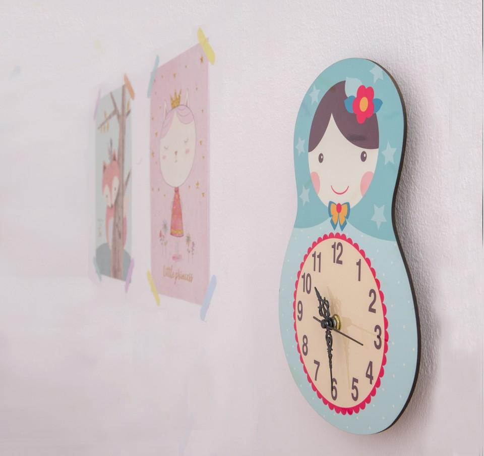 Kids Wall Clock Nursery Children Matryoshka Doll Russia