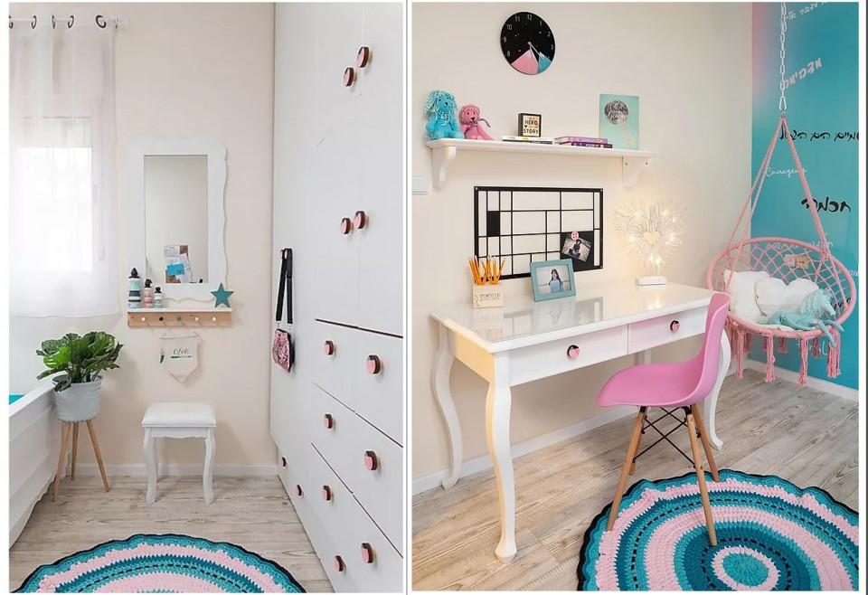 סט של ידיות לחדר של בנות/ ידיות מעוצבות בורוד וסגול חד קרן לבבות ועיגולים/ידיות לשידת ה