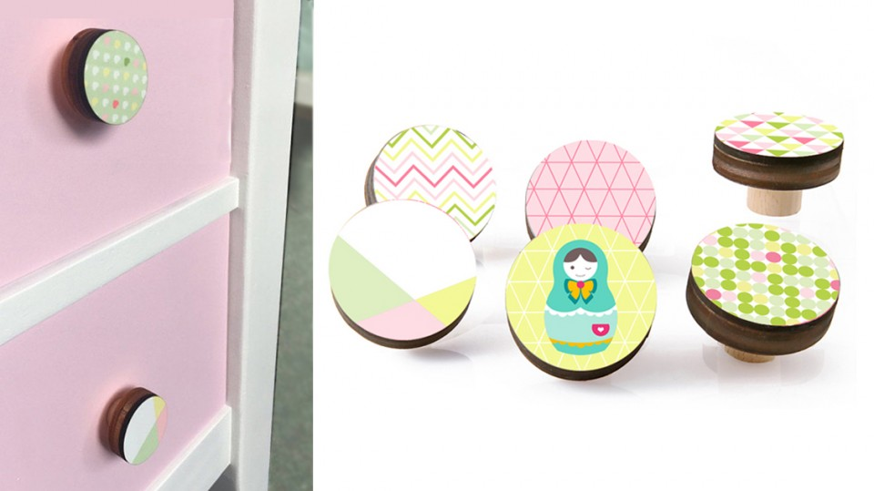 ידיות מעוצבות/ידיות למגירות וארונות/ידיות עץ עגולות לחדר של ילדה