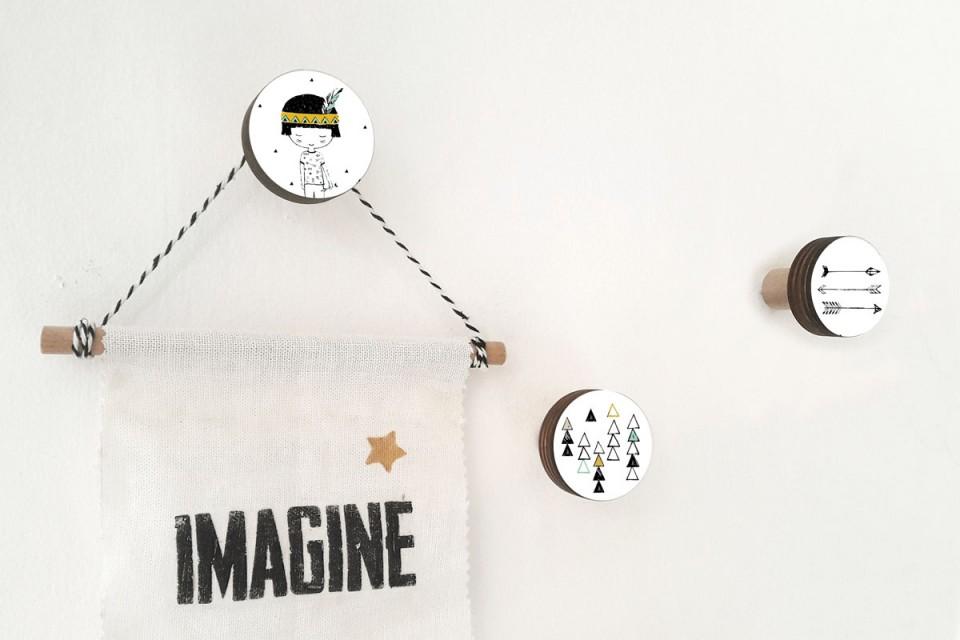 מתלים לחדרי ילדים/מתלי קיר/מתלים למעילים ותיקים/סט של 3/בהשראה אידיאנית