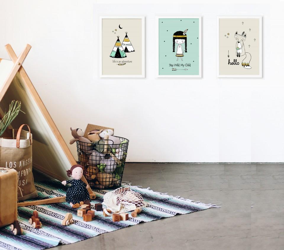 סט 3 הדפסים  לחדר ילדים/איורים מקורים בהשראה אינדיאנית