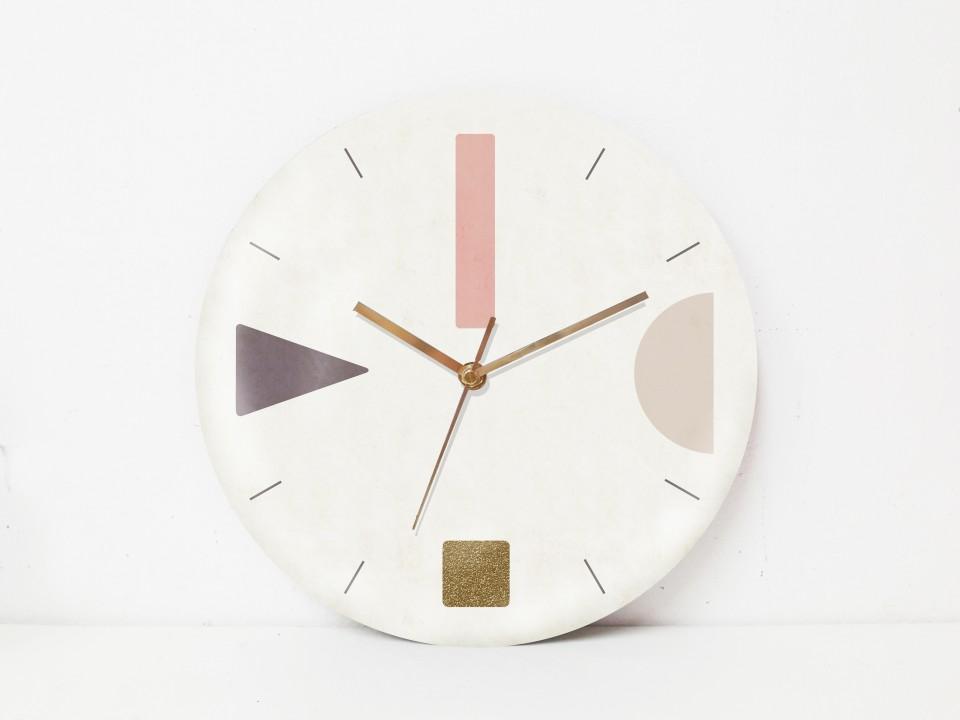 שעון קיר עגול/שעון קיר גדול עיצוב נורדי/ שעון קיר לפינת עבודה/שעון קיר למשרד/ בטון/גאומטרי