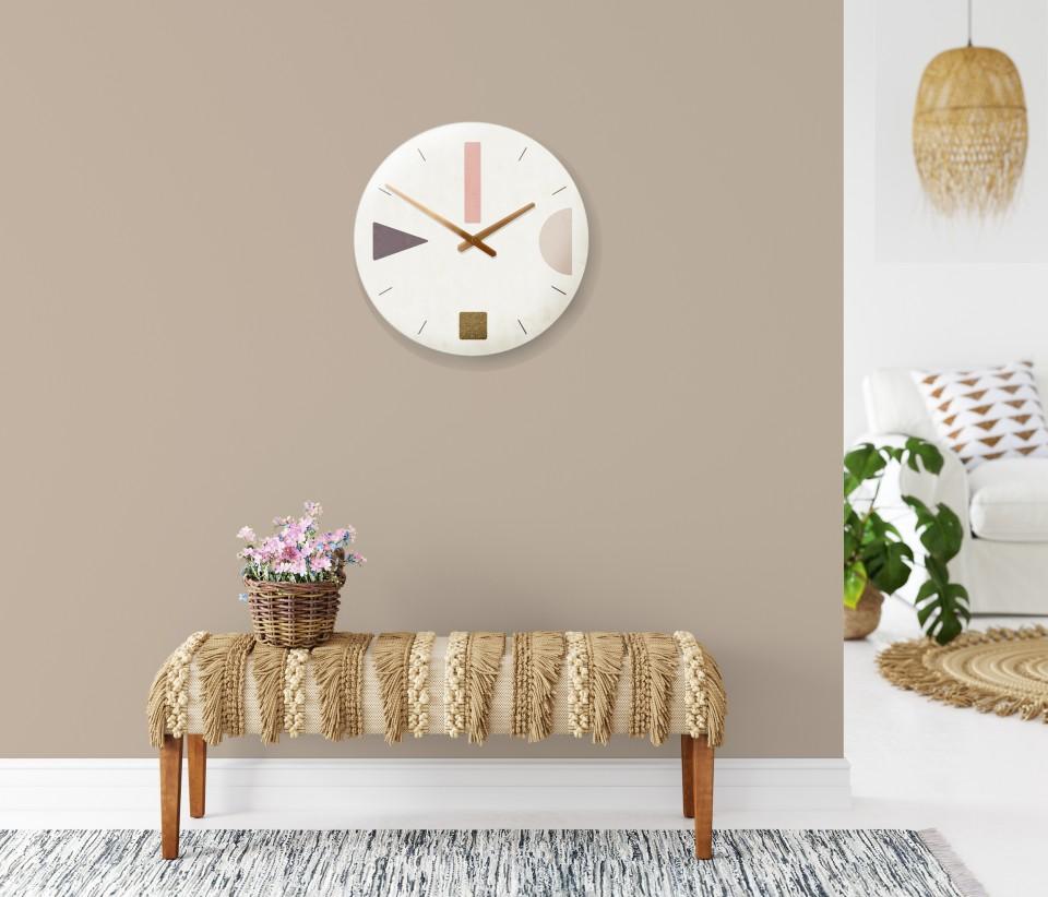 [משוכפל] שעון קיר בהדפס גאומטרי מינימליסטי בגווני אפרסק זהב/שעון קיר לסלון//שעון קיר לחדר שינה