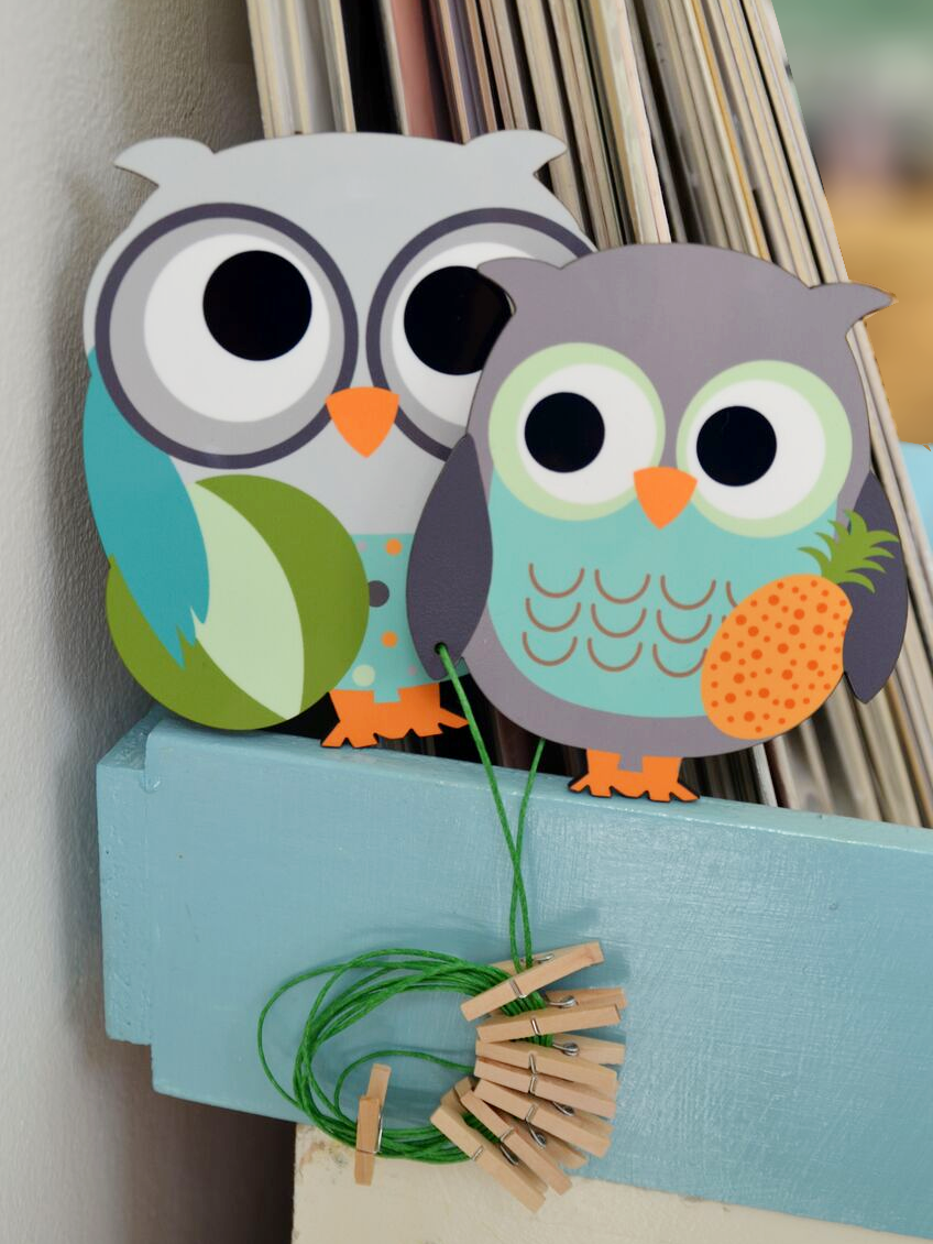 Owl Art Display Clips/Owl Kids Decor/displaying children art/kids room decor