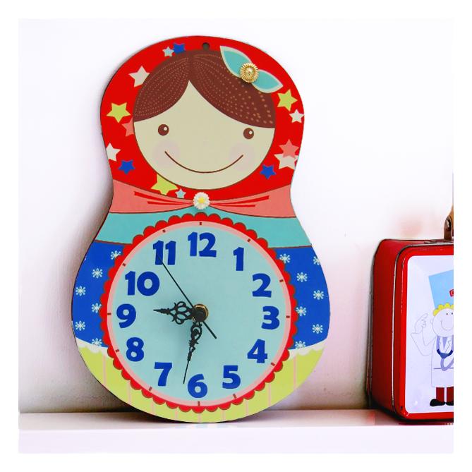 שעון קיר לחדר ילדים/בבושקה/שעון מעוצב לבית/בבושקה/מטריושקה