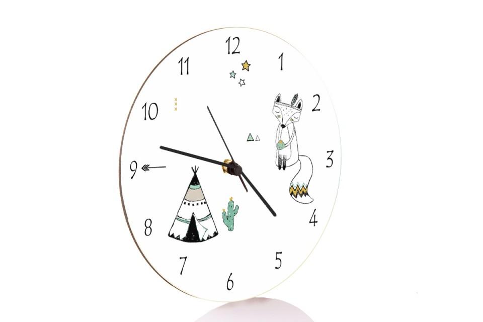 שעון קיר לחדר ילדים/שעון בהשראה אינדיאנית טיפי ושועל